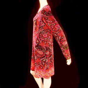 Neiman Marcus Black Red Paisley Tunic Dres…